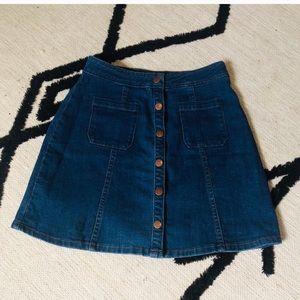 Button Down Denim Skirt - S